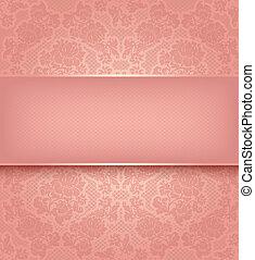 rosa, ornamental, spets, bakgrund, blomningen, mall