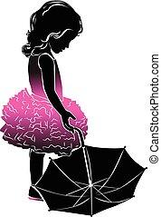 rosa, paraply, litet, silhuett, flicka
