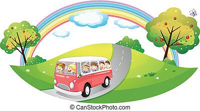 rosa, passageraren, buss