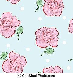 rosa, pricken, mönster, seamless, ro, vit