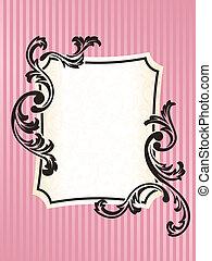 rosa, romantisk, ram, fransk, rektangulär, retro