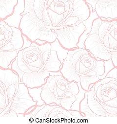 rosa, skissera, mönster, seamless, ro, vit