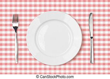 rosa, tallrik, picknicken, topp, tyg, middag tabell, tom, synhåll