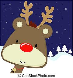 rudolph, hälsningskort, jul