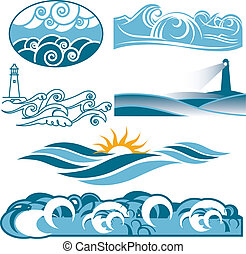 rullande, blå, sjögånger