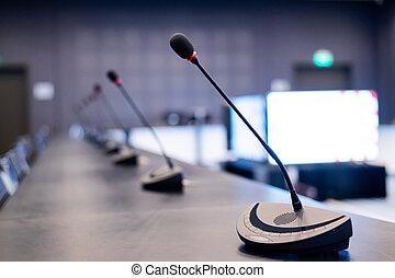 rum, mikrofoner, conference., tom, press, närbild, möte