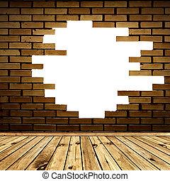 rum, vägg, tegelsten, bruten