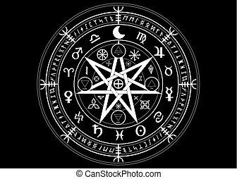 runes, mystisk, sätta, år, mull, mandala, undertecknar, divination., symboler, forntida, isolerat, svart, astrologiska, hjul, wicca, symbol, bakgrund, ockult, wiccan, protection., vektor, häxor, zodiaken, eller