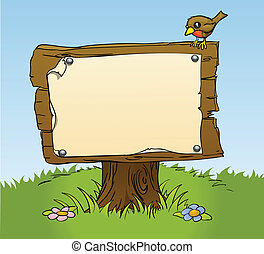 rustik, trä, underteckna