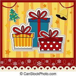 rutor, gåva, julkort, hälsning