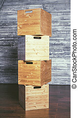 rutor, trä, stack