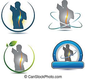 rygg, symbol, hälsosam
