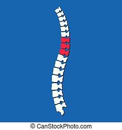 ryggrad, column., osteopathy, lägenhet, problem, vektor, illustration, kirurgi, smärta, silhouette., rygg, mänsklig, ortopedisk, begrepp, ikon, vertebral
