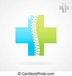 ryggrads, logo, underteckna, centrera, klinik