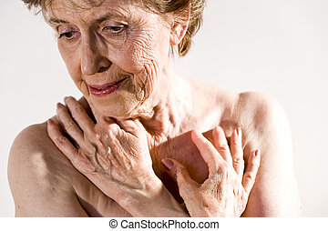 rynkig, kvinna, skinn, äldre