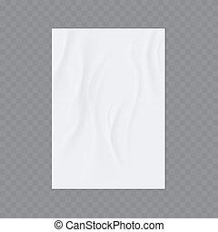 rynkig, mall, limmat, flygare, vektor, wall., eller, realistisk, affisch, papper