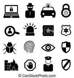 säkerhet, sätta, ikon