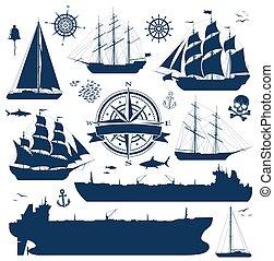 sänder, sätta, tankfartyg, yachter, segla