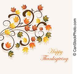 säsongbetonad, bladen, tacksägelse, höstlig, design, bakgrund, eller