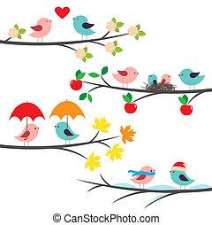 säsongbetonad, grenverk, fåglar