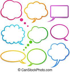 sätta, anförande, bubblar, vektor