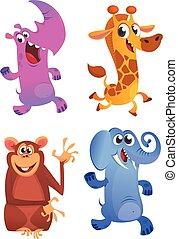 sätta, djuren, ikonen, set., vektor, djur, tecknad film