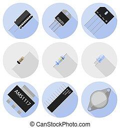 sätta, elektronisk, komponenten