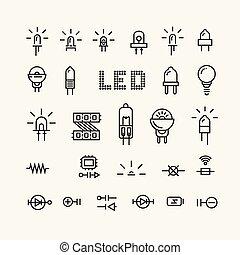 sätta, elektronisk, related., komponenten