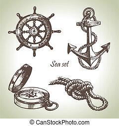 sätta, elements., hand, design, hav, nautisk, illustrationer, oavgjord