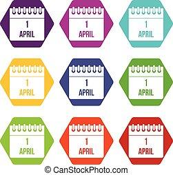 sätta, färg, hexahedron, 1, april, kalender, ikon