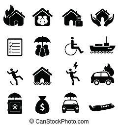 sätta, försäkring, ikon