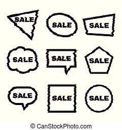 sätta, försäljning, verkan, glitch, nio, baner