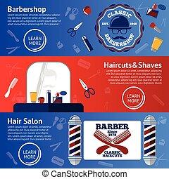 sätta, fett, klippa, rakkniv, -, tillbehör, etc., vektor, barberare, kam, baner, rykta, stänger