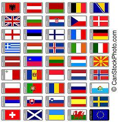 sätta, flaggan, europe