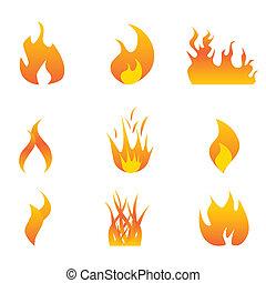 sätta, flammor, ikon