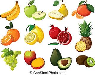 sätta, fruit., utsökt, isolerat
