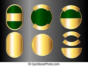 sätta, grön, märken, guld