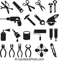 sätta, ikonen, arbete, -, vektor, redskapen