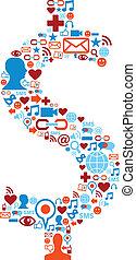 sätta, ikonen, media, symbol, dollar, social