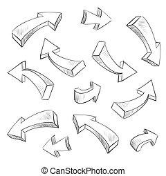 sätta, illustration, sketchy, vektor, design, pil, elementara, 3