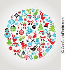 sätta, jul, bakgrund, ikonen