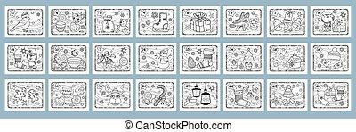 sätta, kids., vector., jul, advent, kolorit, calendar., sidor