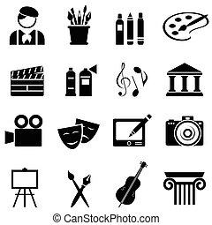 sätta, konst, ikon