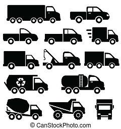 sätta, lastbilar, ikon