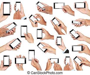 sätta, mobil, avskärma, hand, ringa, holdingen, tom, smart