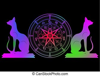 sätta, mystisk, år, mull, mandala, undertecknar, divination., symboler, forntida, färgrik, runes, isolerat, astrologiska, hjul, wicca, symbol, katter, ockult, wiccan, protection., vektor, häxor, zodiaken