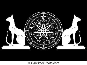 sätta, mystisk, år, mull, mandala, undertecknar, divination., symboler, forntida, runes, isolerat, svart, astrologiska, hjul, wicca, symbol, katter, ockult, wiccan, protection., vektor, häxor, zodiaken