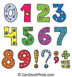 sätta, numrerar, rolig, undertecknar