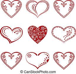 sätta, pictogram, hjärta, valentinbrev
