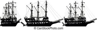 sätta, sailboat., vektor, silhuett, skepp, sjörövare
